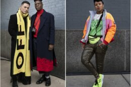 Actor Colton Haynes, left, poses with Jasper Brown, of Women's Wear Daily, and Tiffany Battle, right, with The Werk! Place, pose during Fashion Week, Wednesday, Feb. 12, 2020, in New York. (AP Photo/Mark Lennihan)