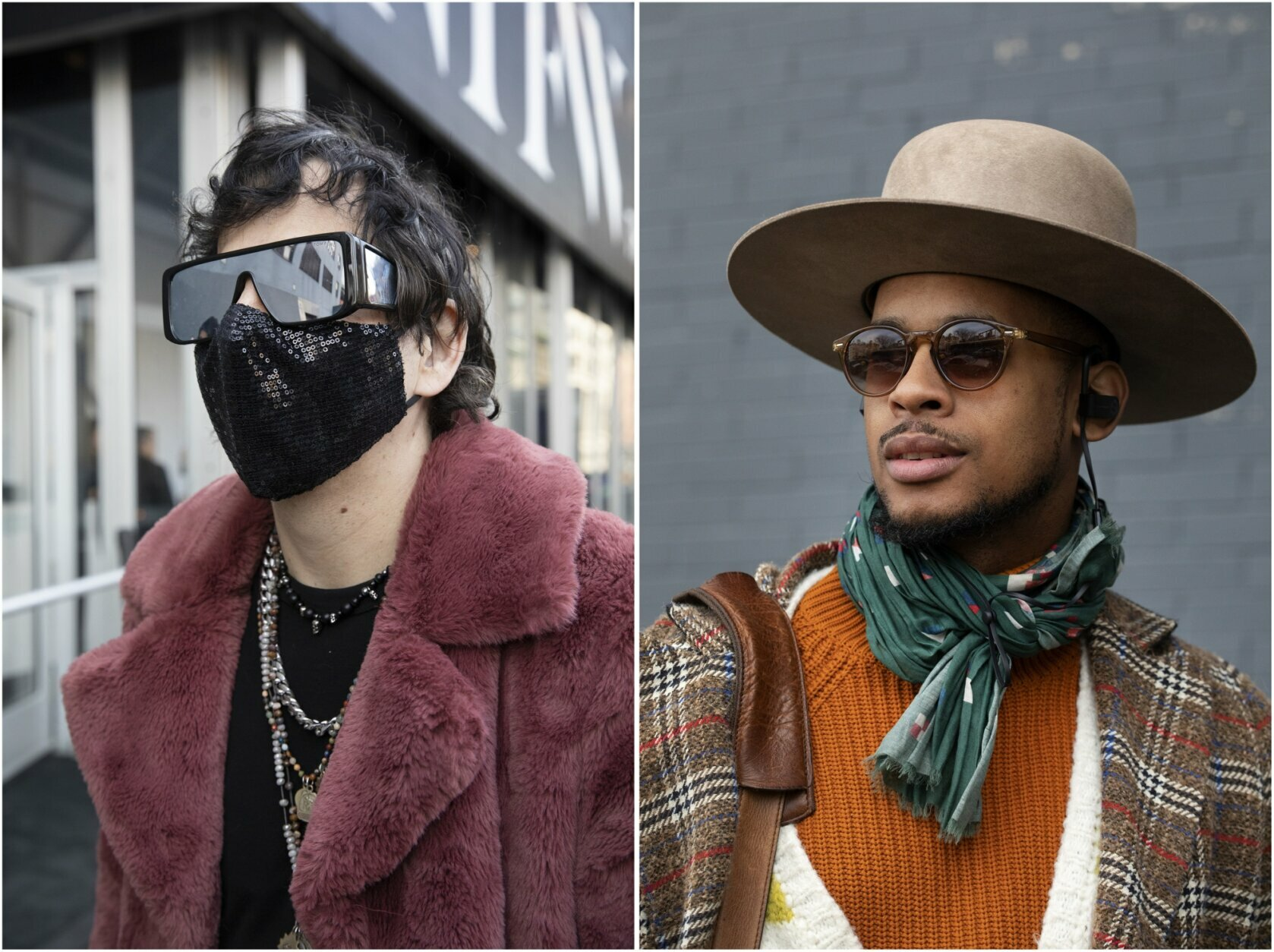 Pablo Starr, left, the owner Fashion Week Online and Karston Tannis pose for photos before attending a show during Fashion Week, Wednesday, Feb. 12, 2020, in New York. (AP Photo/Mark Lennihan)