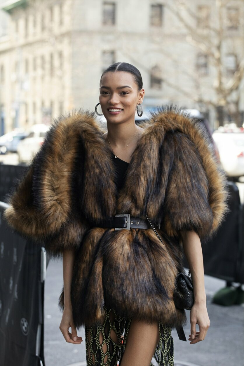 Model Lameka Fox arrives for a show during Fashion Week, Wednesday, Feb. 12, 2020, in New York. (AP Photo/Mark Lennihan)