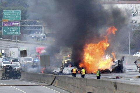 Police: 2 dead in fiery interstate crash near Atlanta