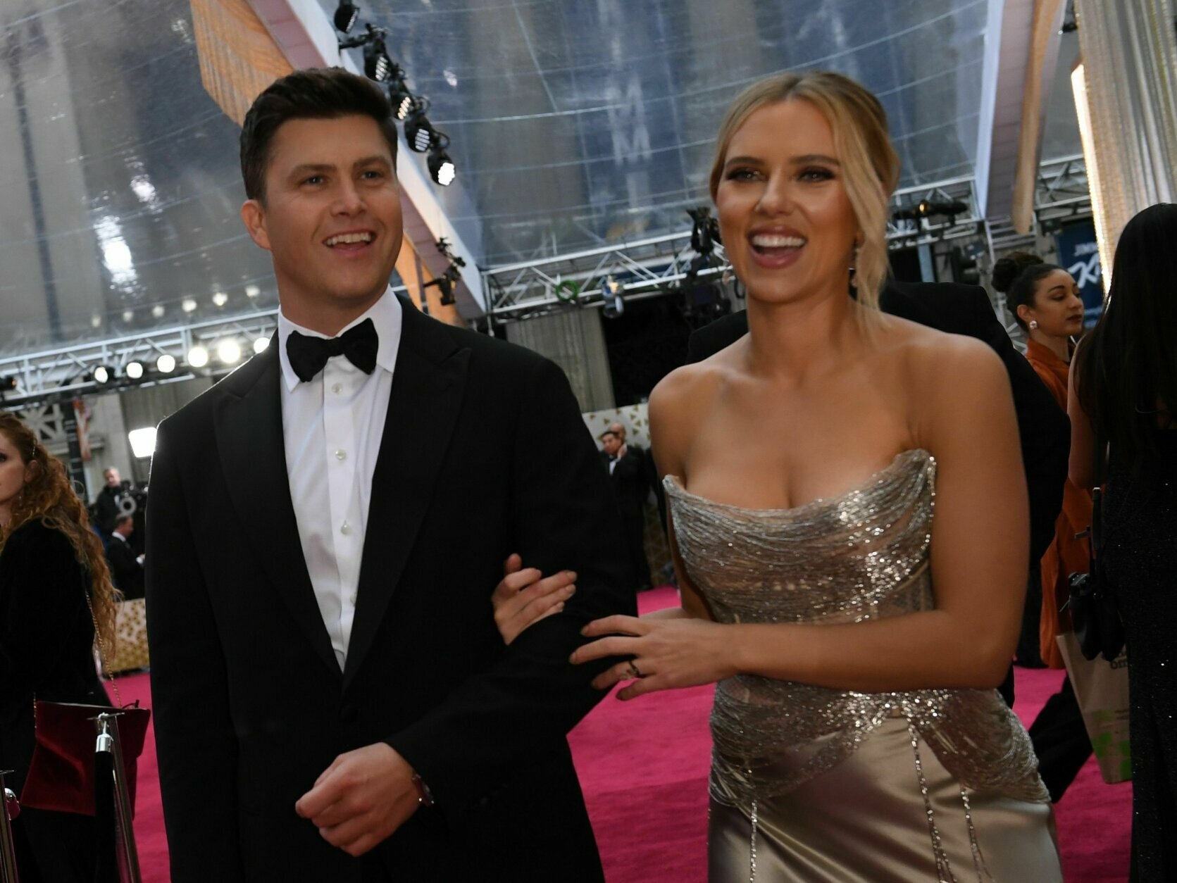 US actress Scarlett Johansson arrives with husband Colin Jost for the 92nd Oscars at the Dolby Theatre in Hollywood, California on February 9, 2020. (Photo by VALERIE MACON / AFP) (Photo by VALERIE MACON/AFP via Getty Images)