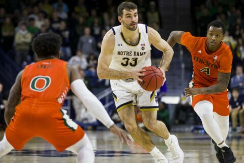 Mooney, Gibbs lead Notre Dame to 87-71 win over Miami