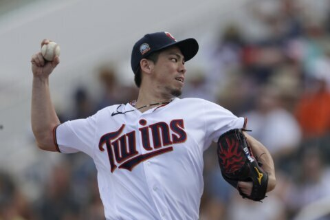 Maeda gives up leadoff HR in 1st start for Twins, settles in