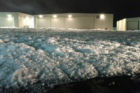 Fluffy malfunction: Foam fills airport hangar in Northern Virginia