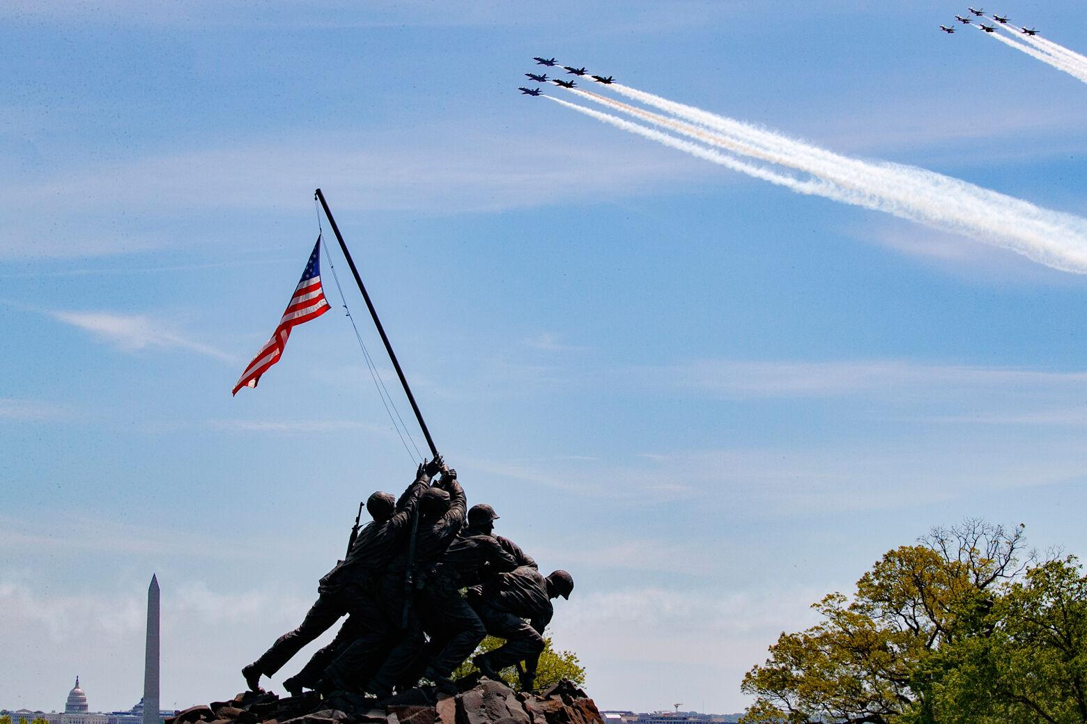 Jets above the U.S. Marine Corps War Memorial.