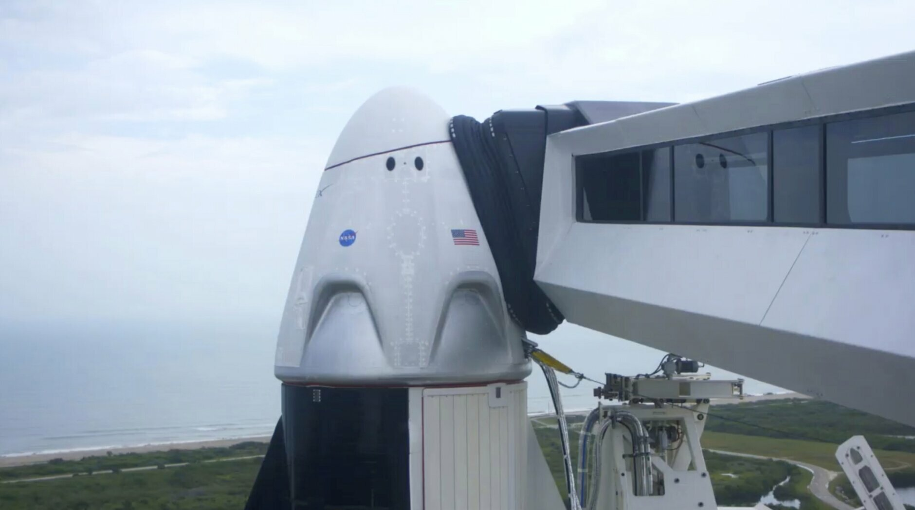 This Wednesday, May 27, 2020 image from video made available by SpaceX shows the Crew Dragon capsule before launch from the Kennedy Space Center in Cape Canaveral, Fla., later in the day. (SpaceX via AP)