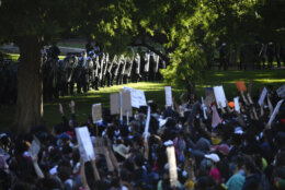 <p>UNITED STATES &#8211; MAY 31: Police in riot gear stand in front of the White House as demonstrators gather to protest the death of George Floyd in Washington on Sunday, May 31, 2020. (Photo by Caroline Brehman/CQ-Roll Call, Inc via Getty Images)</p>