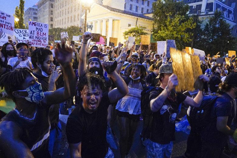 Protesters in the rain in Washington