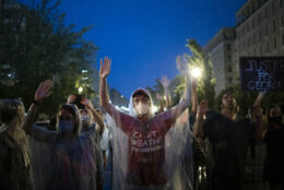 Protesters in rain in DC