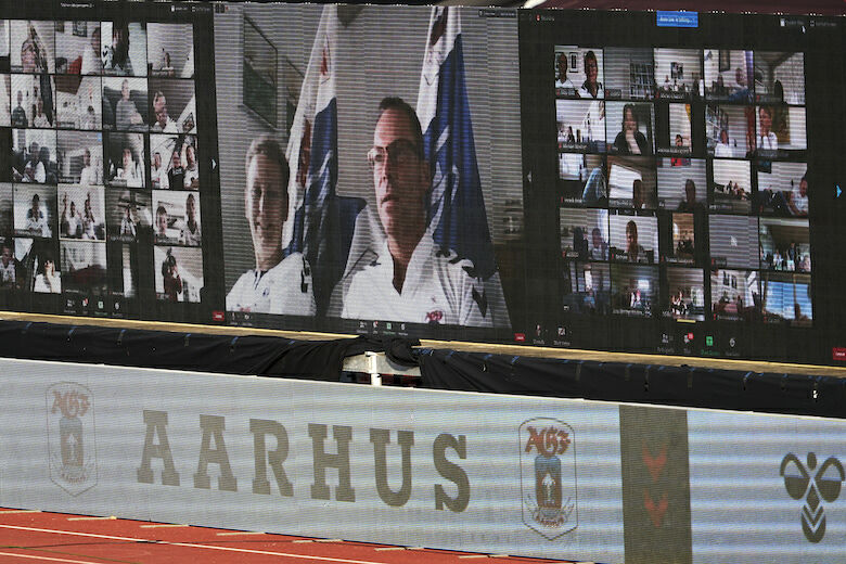 AARHUS, DENMARK - MAY 28: Fans on the LED screens following the game via zoom during the Danish 3F Superliga match between AGF Aarhus and Randers FC at Ceres Park on May 28, 2020 in Aarhus, Denmark. (Photo by Lars Ronbog / FrontZoneSport via Getty Images)