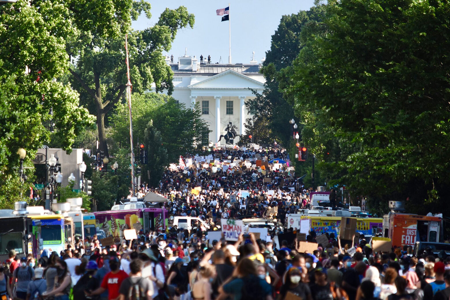 Protesters in front of the White House.