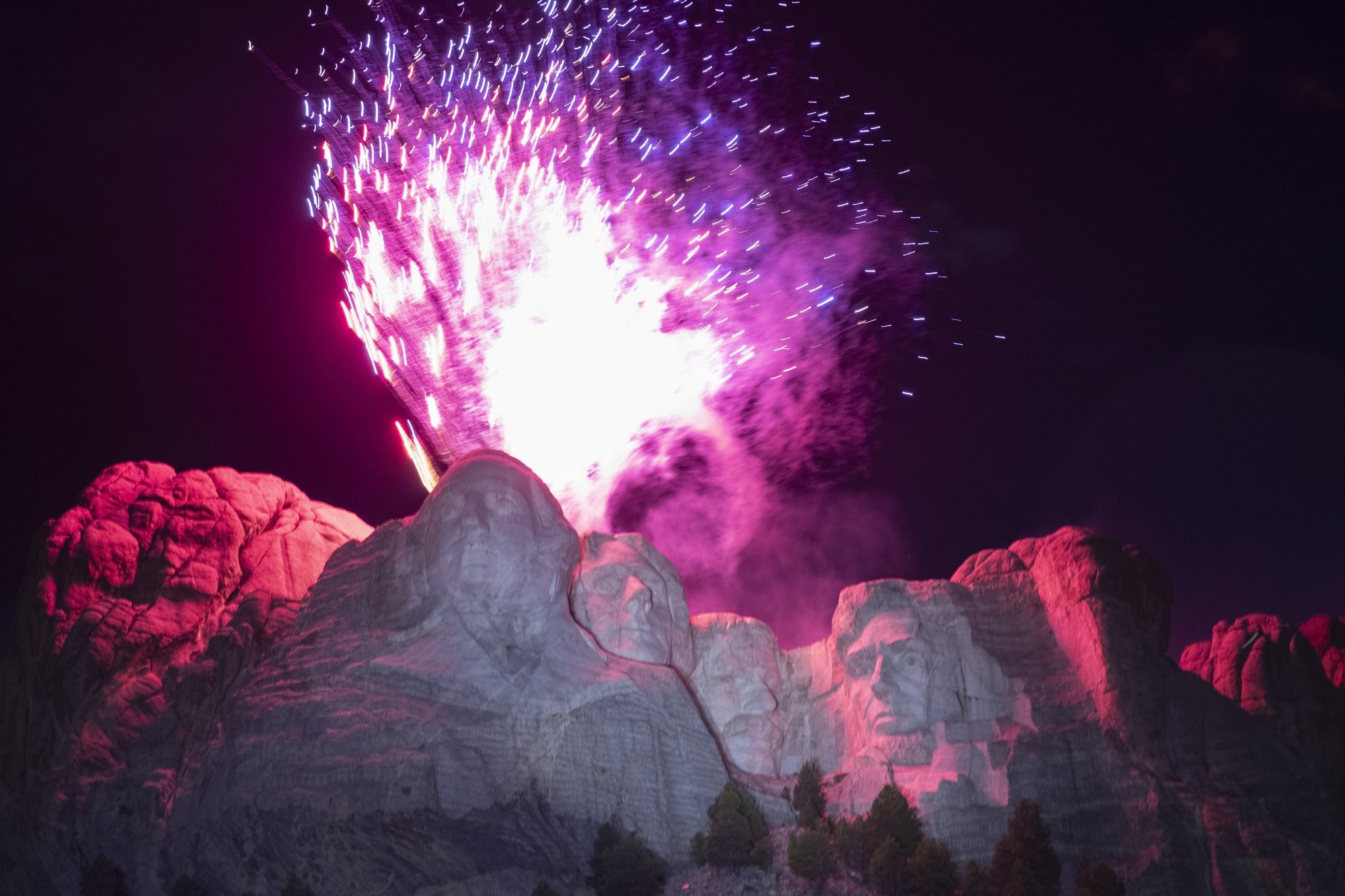 National Park Service staff working Mount Rushmore event...