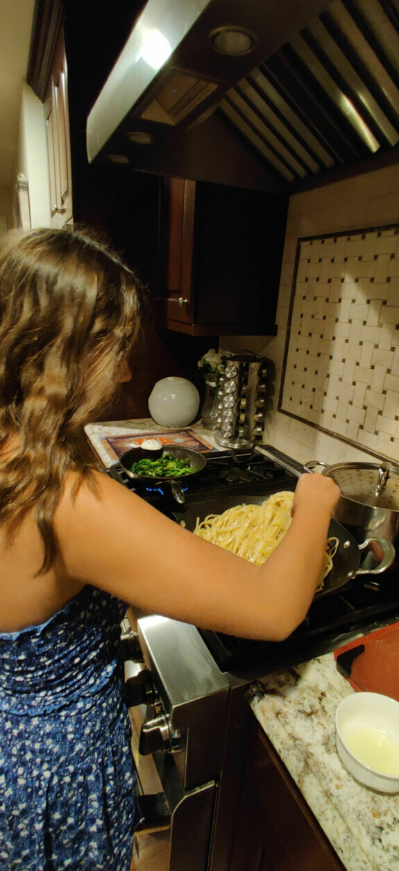 "<p><b>Get your child involved in the kitchen in an age-appropriate way</b></p> <p><span style=""font-weight: 400;"">""Long-term, it would help ease the work on the parents if they got their child more involved in the kitchen,"" Shapiro said. ""They can wash fruit, they can peel potatoes or slice up some cucumbers. It can expose them [to the idea] that eating balanced meals and snacks are a priority.""</span></p> <p>Baraban, the high school senior, said she used to skip breakfast or grab something small on her way out the door to school. On homework-heavy nights, she would even skip dinner. Now that she is making meals for her family, she has found herself eating better. And, she even has time for a good breakfast.</p> <p>&#8220;<span style=""font-weight: 400;"">I'm grateful I have this time that I can have those three meals per day. I'm really glad I'm getting three full meals,&#8221; Baraban said.</span></p>"