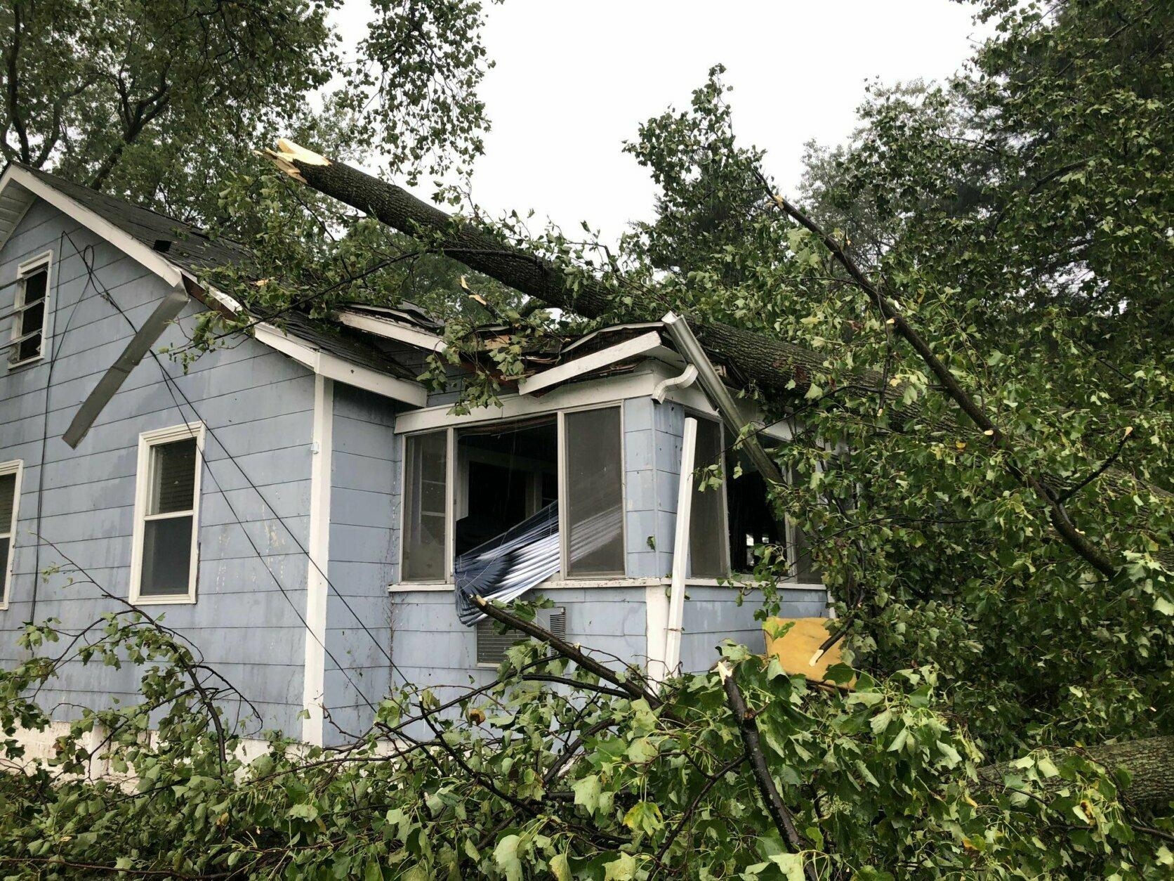 <p></noscript>High winds sent a poplar tree into a house near Annapolis Thursday.</p><div class=