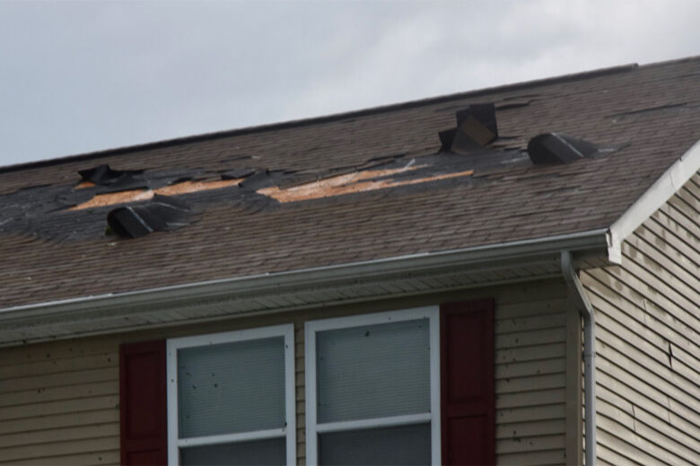 roof damage after tornado in Edgewater