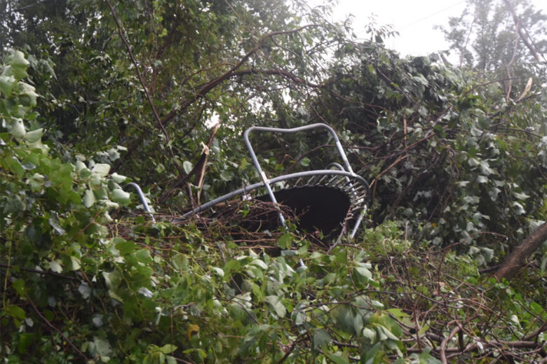 <p></noscript>A trampoline was picked up and moved by the fierce storm. (WTOP/Dave Dildine)</p>                         <div class=