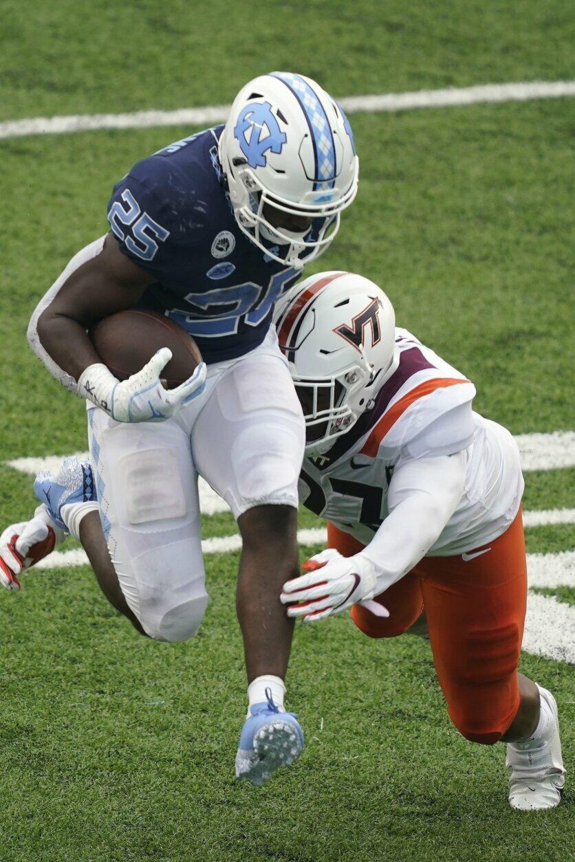 Carter, No. 8 UNC run past No. 19 Virginia Tech 56-45 | WTOPNorth Carolina Football
