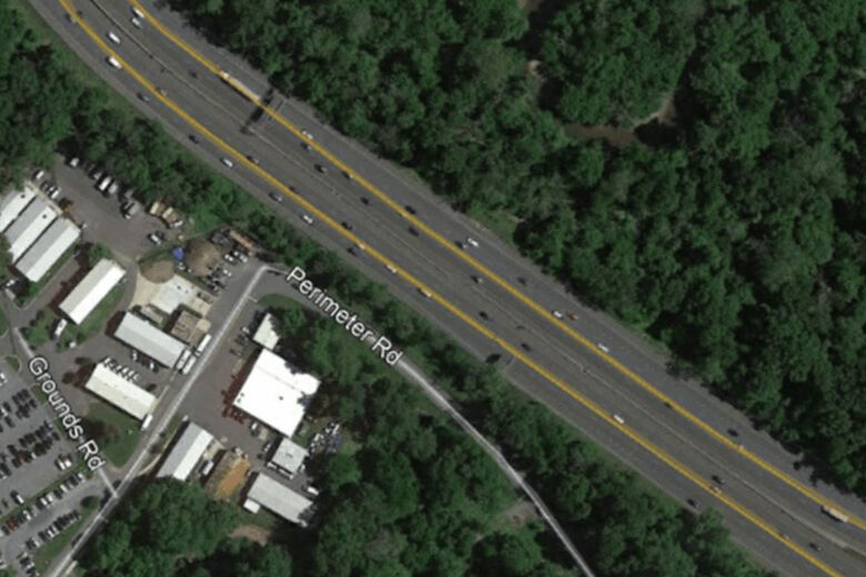 Aerial image shows the edge of Naval Support Activity Bethesda.