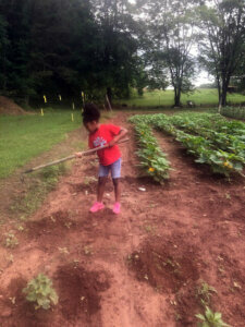 Lyric Lucas tends to one of her gardens.