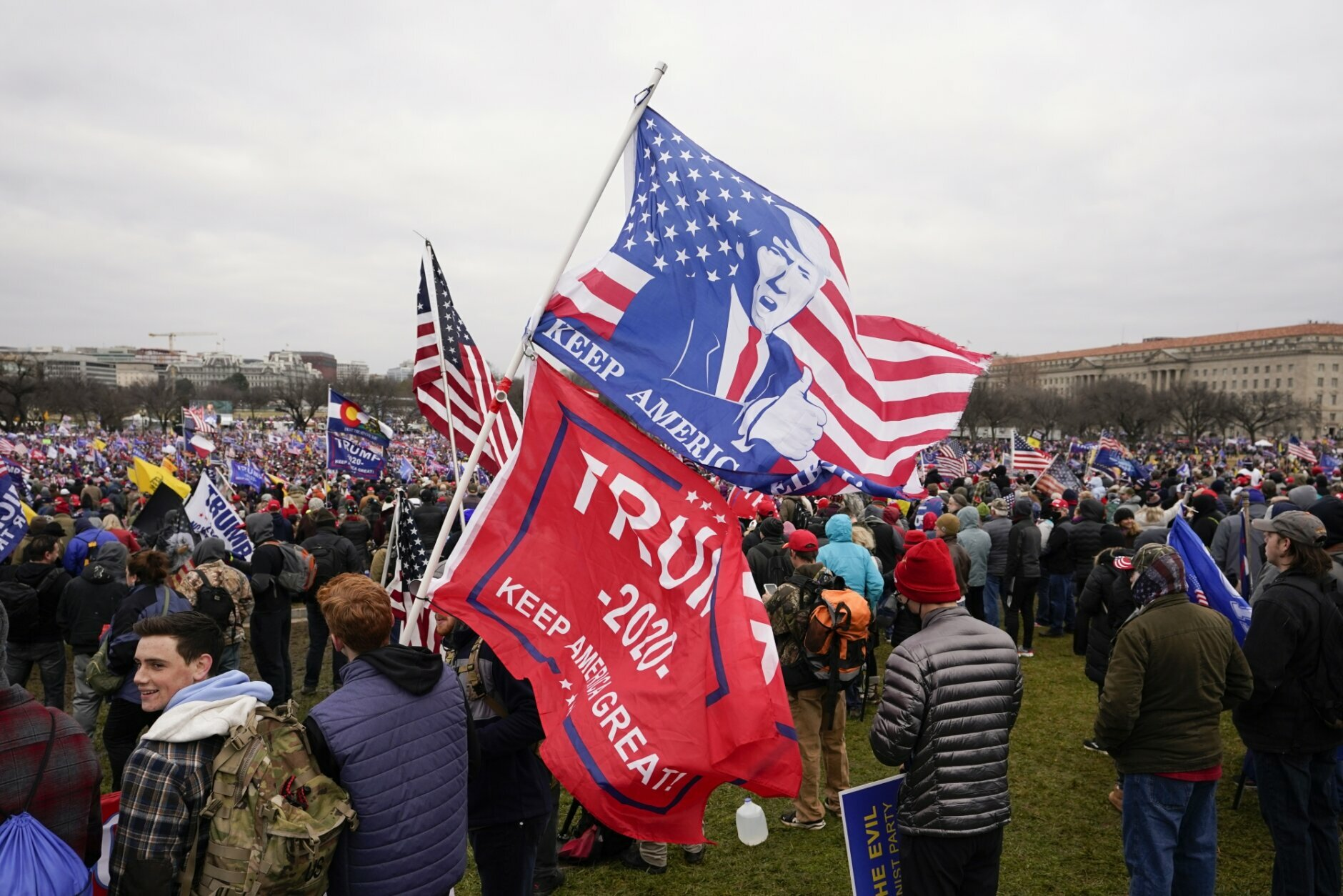 People attend a rally in Washington, Wednesday, Jan. 6, 2021, in support of President Donald Trump. (AP Photo/Carolyn Kaster)