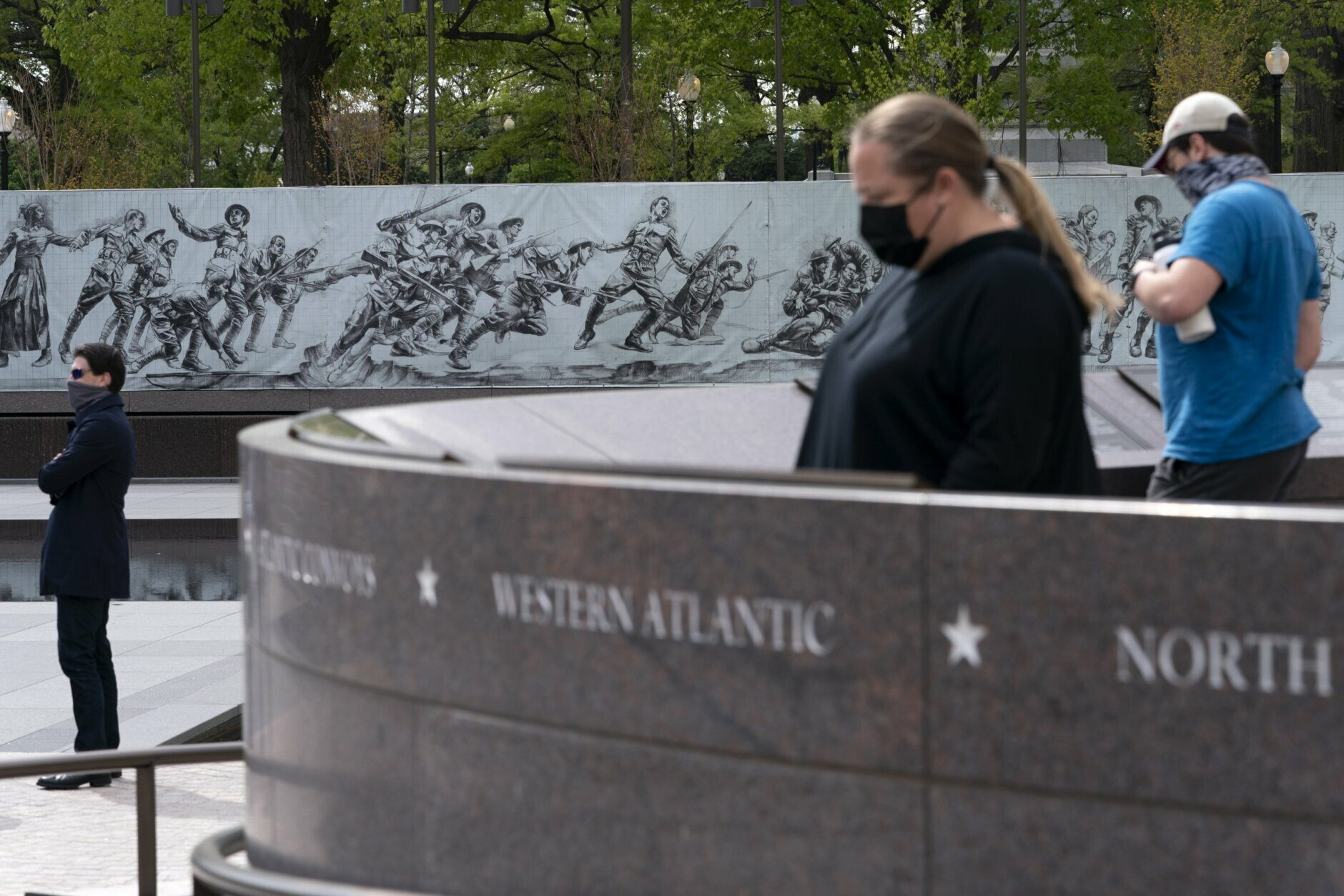 People visit the newly opened World War I Memorial, Friday, April 16, 2021, in Washington. (AP Photo/Jacquelyn Martin)