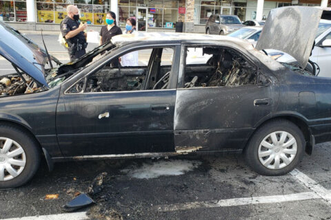 Driver suffers burns after fire caused by hand sanitizer, cigarette combo