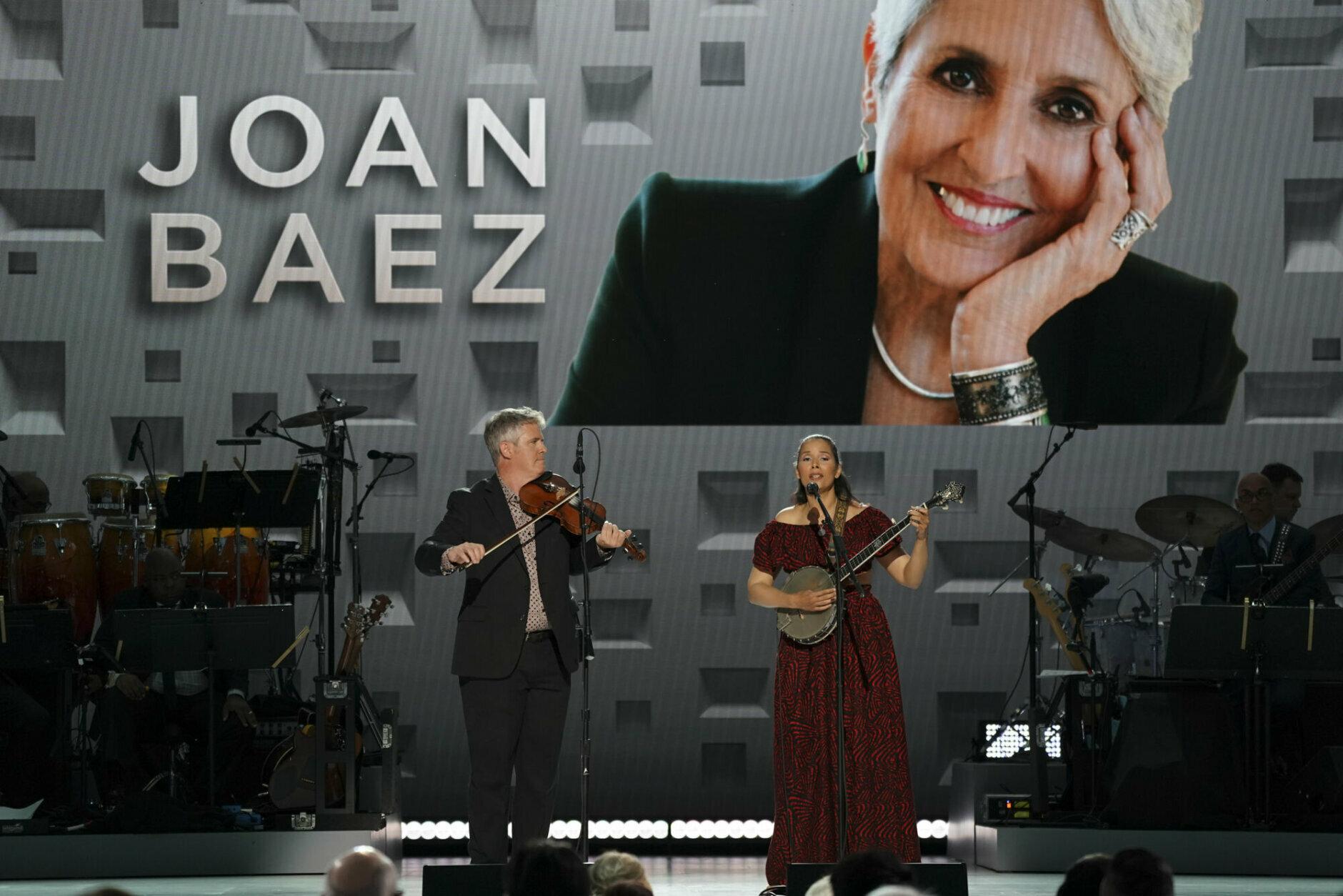 <p>Dirk Powell and Rhiannon Giddens perform. (Gail Schulman/CBS)</p>