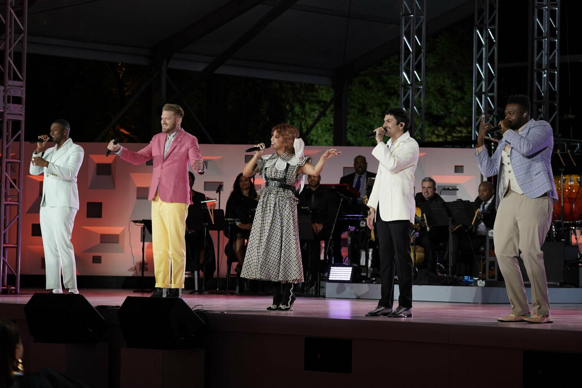 <p>Pentatonix performs. (Michele Crowe/CBS)</p>