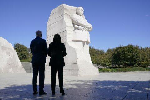 PHOTOS: President Biden visits MLK Jr. Memorial on its 10th anniversary